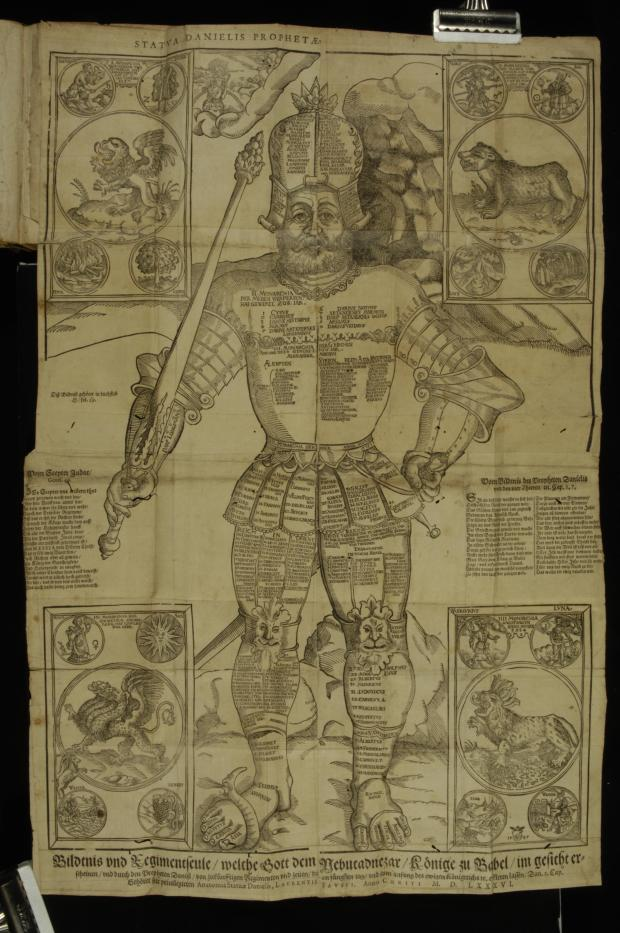 Lorenz Faust, Anatomia Statuæ Danielis. Kurtze und eigentliche erklerung der grossen Bildnis des Propheten Danielis, darin ein historischer ausszug der vier Monarchien (Lepizig: Johann Steinman, 1586