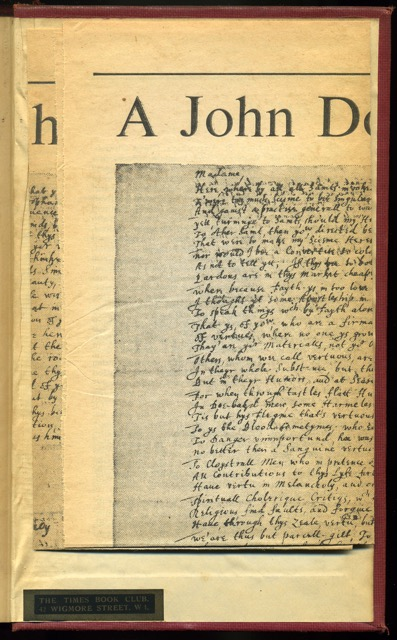 "Clipping laid in at rear cover. Smith, A. J. ""A John Donne Poem in Holograph."" Times Literary Supplement [London, England] 7 Jan. 1972: 19. Times Literary Supplement Historical Archive. Web. 16 Apr. 2015."