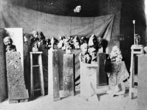 Rosso in his studio in Milan, 1883. From Margaret Scolari Barr, Medardo Rosso, Museum of Modern Art, (1963), 18.
