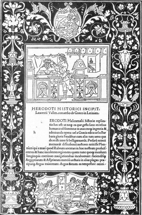Dedication page for the Historiae by the Greek historian Herodotus, translated into Latin by Lorenzo Valla (1494)