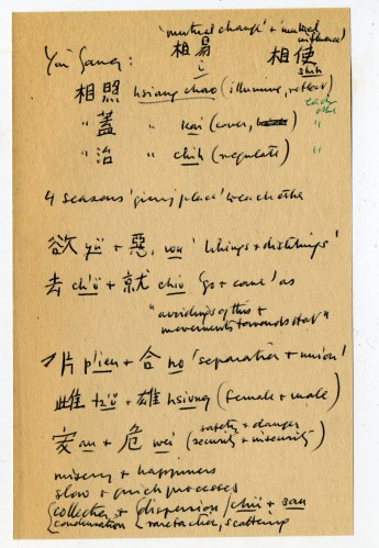 Mai-mai Sze's notes on the concept of yin and yang, in Chinese and English.
