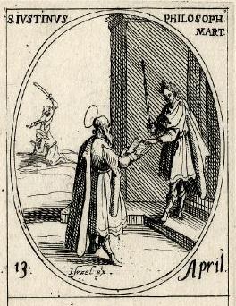 Justin Martyr presenting an open book to a Roman emperor (Jacques Callot, c. 1632-1635)