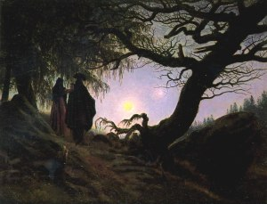 "Caspar David Friedrich, ""Man and Woman Contemplating the Moon,"" 1835 (Alte Nationalgalerie, Berlin)."