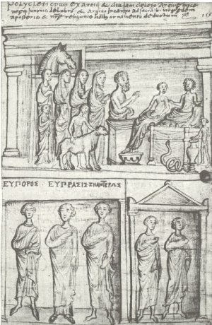 Cyriac of Ancona's drawings of stone carvings on the Church of the Dormition of the Virgin in Agia Triada, Greece (Milan, Biblioteca Ambrosiana, Cod. Trotti 373, f. 115r, nauplion.net)
