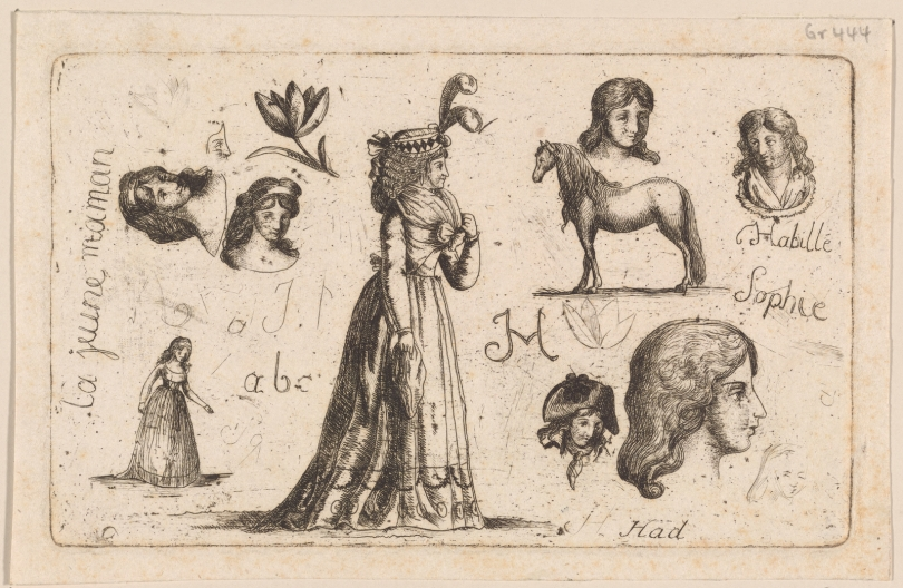 "Sophie of Saxe-Coburg-Saalfeld (1778-1835) ""A sheet of sketches and studies …"" 1795. The Miriam and Ira D. Wallach Division of Art, Prints and Photographs: Print Collection, The New York Public Library."