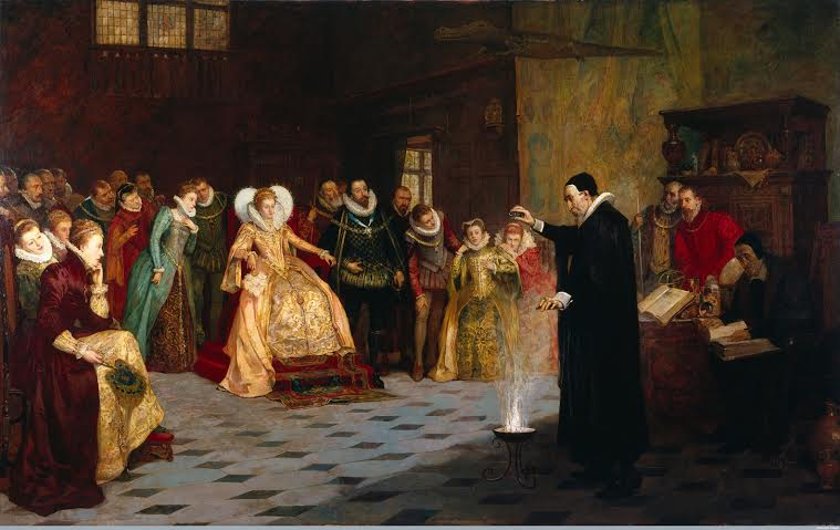 John Dee Performing an Experiment Before Elizabeth I by Henry Gillard Glindoni 1852-1913 copyright Wellcome  Library, Wellcome Collection Large Version