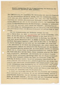 Commission report on Löwith's candidacy. Deutsches Literaturarchiv Marbach, Nachlass Hans-Georg Gadamer