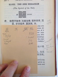 Annotations and inserts in Mai-mai Sze's copy of the Z.D. Sung translation of the I Ching. New York Society Library, Sharaff/Sze Collection.
