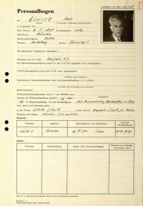 Löwith's personal data form. By permission of Universitätsarchiv Marburg