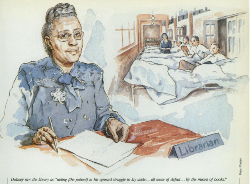 An illustration from the American Libraries profile of Sadie P. Delaney, 1993.