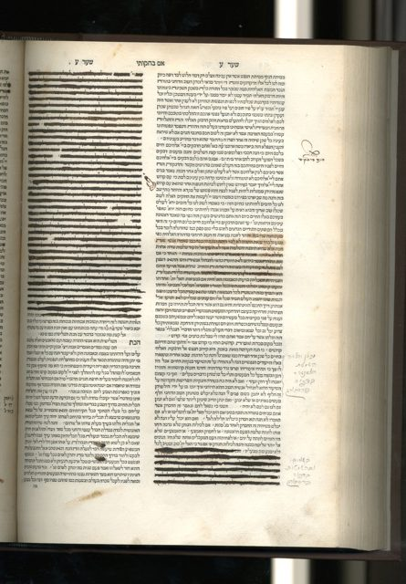 "A censored page from a 1546 edition of Isaac ben Moses Arama's commentary on the Bible Akedat Yitshak, The Library at the Herbert D. Katz Center for Advanced Judaic Studies, University of Pennsylvania. A signature by the censor reads: ""Revisto p[er] me Antonio Fran[cesco] Enrique Alessandria, 1688."""