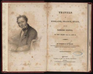 "Noah's book ""Travels in England, France, Spain, and the Barbary States, in the Years 1813-14 and 15."" Wikimedia Commons."