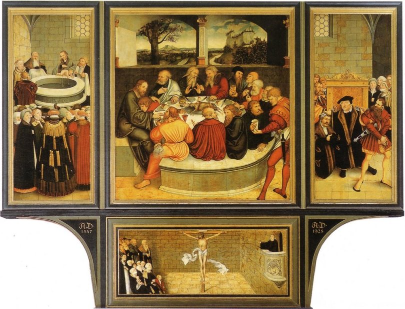 Lucas Cranach the Elder's Wittenberg Altarpiece with a Last Supper. A close friend of Martin Luther, Cranach here represented the administration of the sacrament directly into the mouth of the participant. Whereas some of Luther's Protestant opponents suggested that the minister might simply hand over the body of Christ to the congregation for them to break and eat, Luther always maintained the propriety of the old practice.