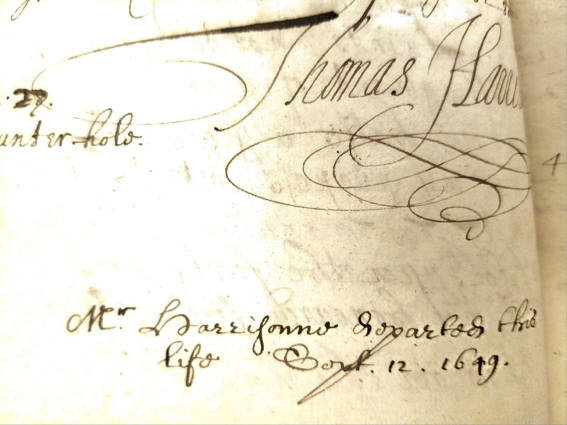 Thomas Harrison signature and death